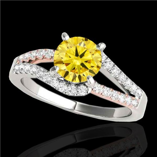 1.65 ctw Certified SI Intense Yellow Diamond Solitaire Ring 10k 2Tone Gold - REF-259F3M