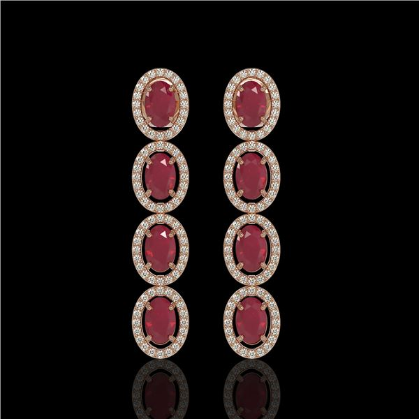 6.47 ctw Ruby & Diamond Micro Pave Halo Earrings 10k Rose Gold - REF-143F6M