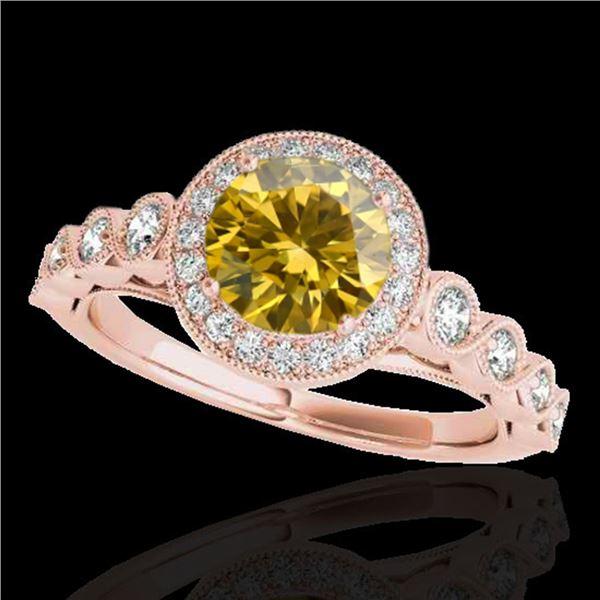 1.93 ctw Certified SI/I Fancy Intense Yellow Diamond Ring 10k Rose Gold - REF-320F5M