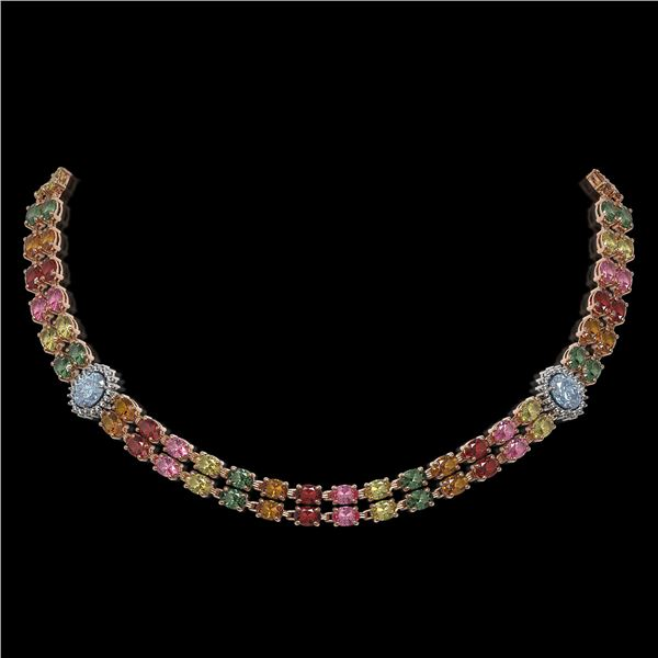 43.68 ctw Sapphire & Diamond Necklace 14K Rose Gold - REF-527A3N