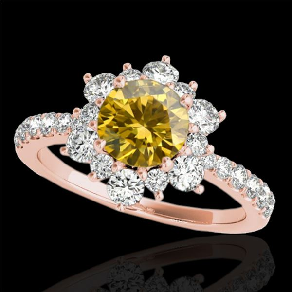 2 ctw Certified SI/I Fancy Intense Yellow Diamond Halo Ring 10k Rose Gold - REF-238A6N