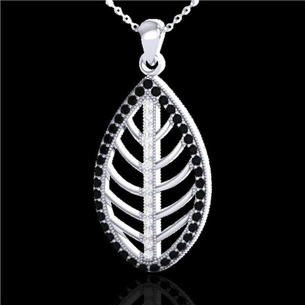 1 ctw Micro Pave Black & White VS/SI Diamond Necklace 18k White Gold - REF-100N2F