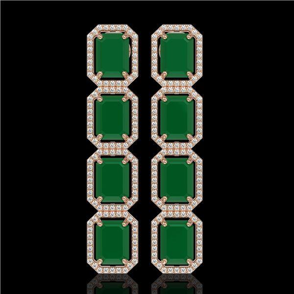 20.59 ctw Emerald & Diamond Micro Pave Halo Earrings 10k Rose Gold - REF-248H2R
