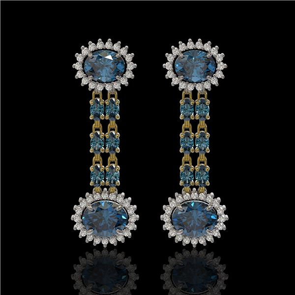 9.85 ctw London Topaz & Diamond Earrings 14K Yellow Gold - REF-148H9R