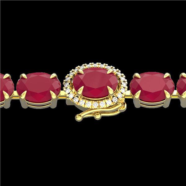 37 ctw Ruby & VS/SI Diamond Eternity Micro Bracelet 14k Yellow Gold - REF-236K4Y