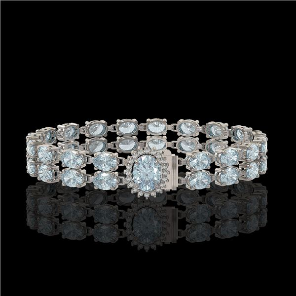 20.47 ctw Aquamarine & Diamond Bracelet 14K White Gold - REF-336X4A