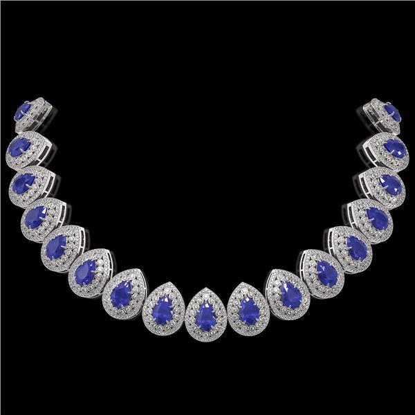 121.42 ctw Sapphire & Diamond Victorian Necklace 14K White Gold - REF-3331W5H