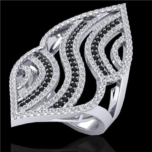 2 ctw Micro Pave Black & White VS/SI Diamond Ring 14k White Gold - REF-162W5H
