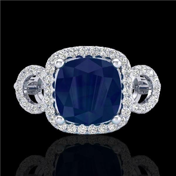 3.15 ctw Sapphire & Micro VS/SI Diamond Certified Ring 18k White Gold - REF-76H8R