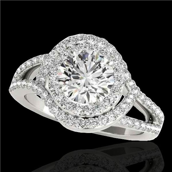 1.9 ctw Certified Diamond Solitaire Halo Ring 10k White Gold - REF-218R2K