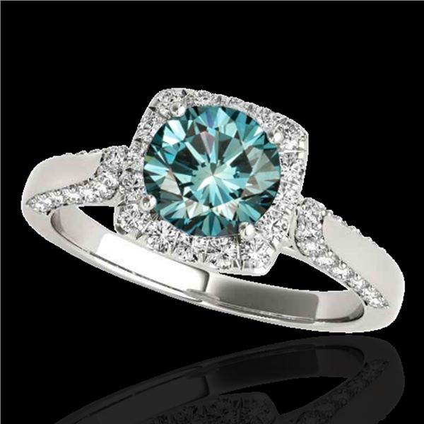 1.7 ctw SI Certified Fancy Blue Diamond Solitaire Halo Ring 10k White Gold - REF-133R5K