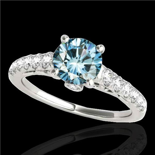 1.75 ctw SI Certified Fancy Blue Diamond Solitaire Ring 10k White Gold - REF-177X3A
