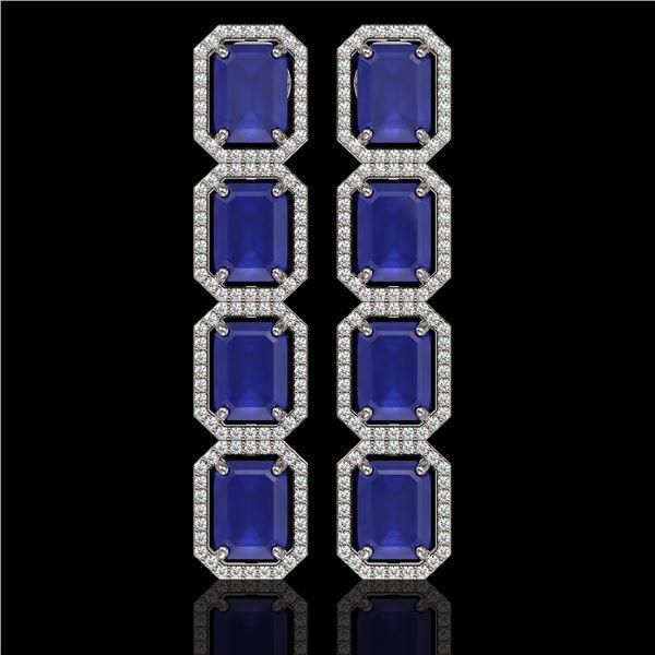 20.59 ctw Sapphire & Diamond Micro Pave Halo Earrings 10k White Gold - REF-213M8G