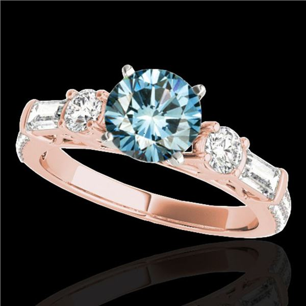 2 ctw SI Certified Fancy Blue Diamond Pave Solitaire Ring 10k Rose Gold - REF-166K4Y