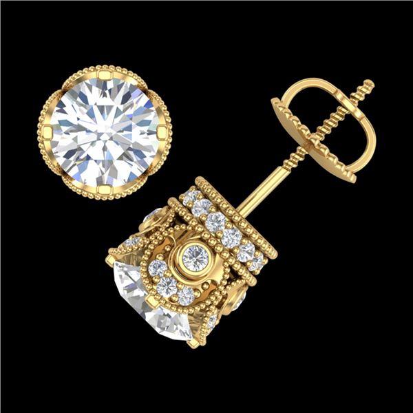 3 ctw VS/SI Diamond Solitaire Art Deco Stud Earrings 18k Yellow Gold - REF-586K8Y