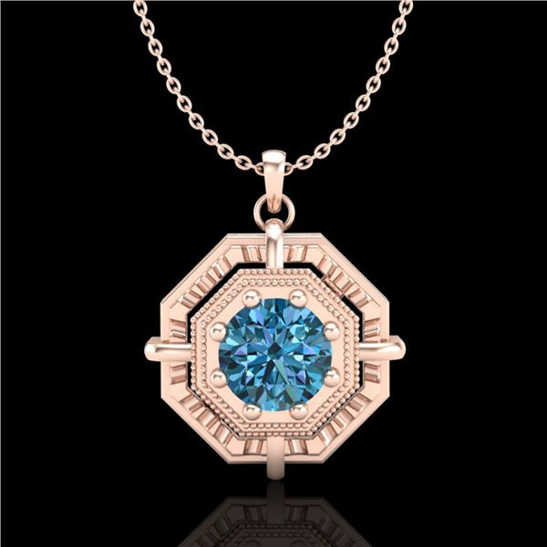 0.75 ctw Fancy Intense Blue Diamond Art Deco Necklace 18k Rose Gold - REF-121R8K