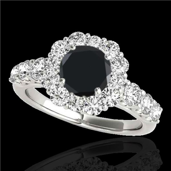 2.25 ctw Certified Black Diamond Solitaire Halo Ring 10k White Gold - REF-94G3W