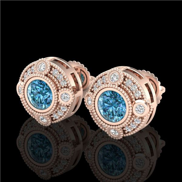 1.5 ctw Fancy Intense Blue Diamond Art Deco Earrings 18k Rose Gold - REF-178R2K