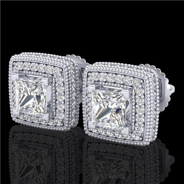 2.01 ctw Princess VS/SI Diamond Art Deco Earrings 18k White Gold - REF-285X5A
