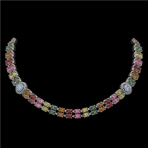 43.68 ctw Sapphire & Diamond Necklace 14K White Gold - REF-527Y3X