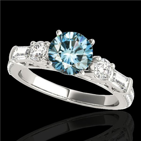 2 ctw SI Certified Fancy Blue Diamond Pave Solitaire Ring 10k White Gold - REF-166H4R
