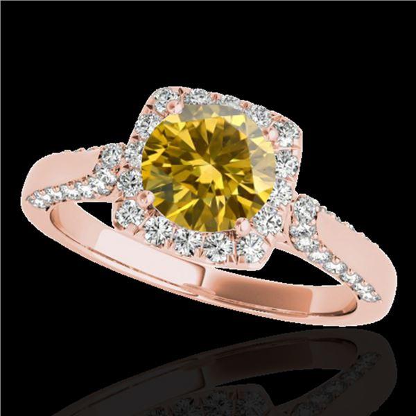 1.5 ctw Certified SI/I Fancy Intense Yellow Diamond Ring 10k Rose Gold - REF-204F5M