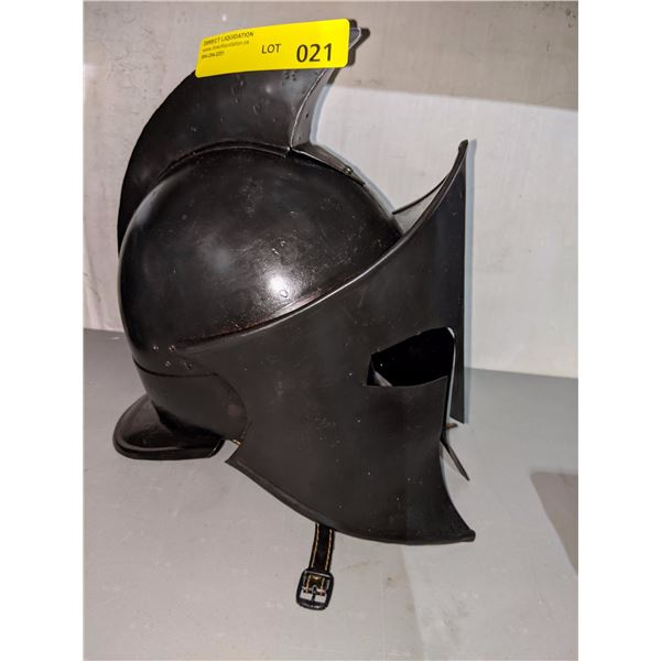 Hand crafted black metal knight helmet from the show