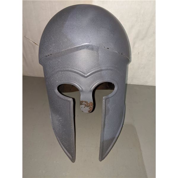 Hand crafted grey metal battle helmet from the show