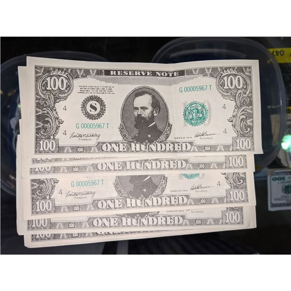 Fake bills from the bank heist show