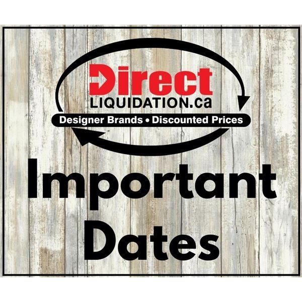 Important Dates (please read)