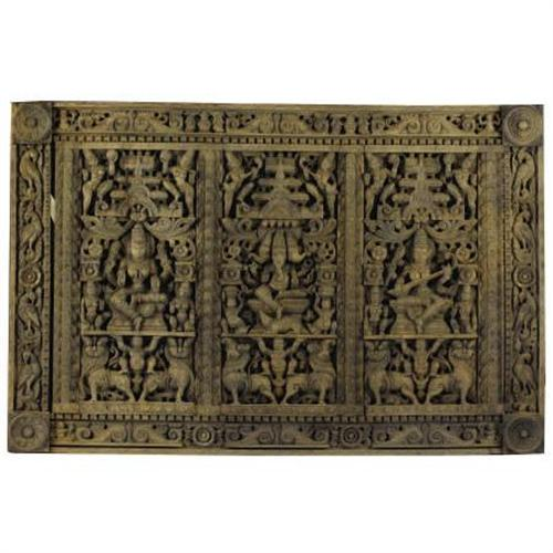 An Indian Carved Wooden Panel