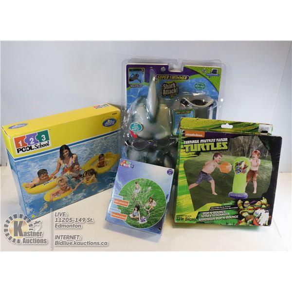 NEW ITEMS POOL SCHOOL 1 2 3 NICKELODEN TURTLES BOX N' BOUCE SPRAY SPRINKLE, SUPER SWIMMER SHARK ATTA