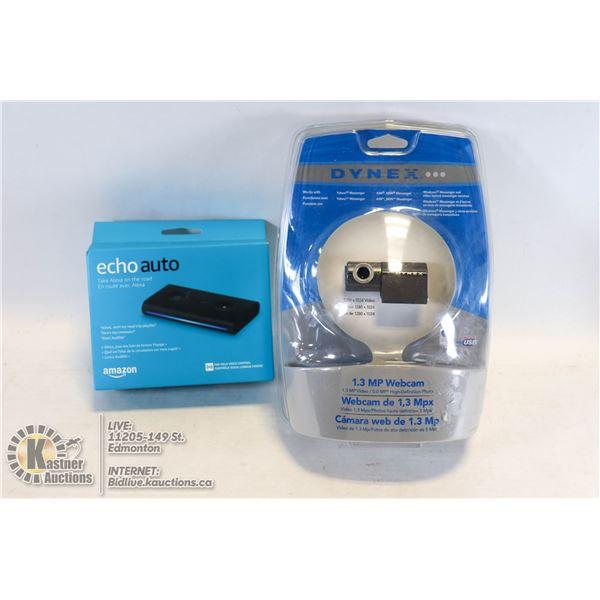 SEALED DYNEX 1.3 MP USB WEBCAM #DX-WEB1C W/SEALED ECHO AUTO HANDSFREE BLUETOOTH ALEXA IN CAR