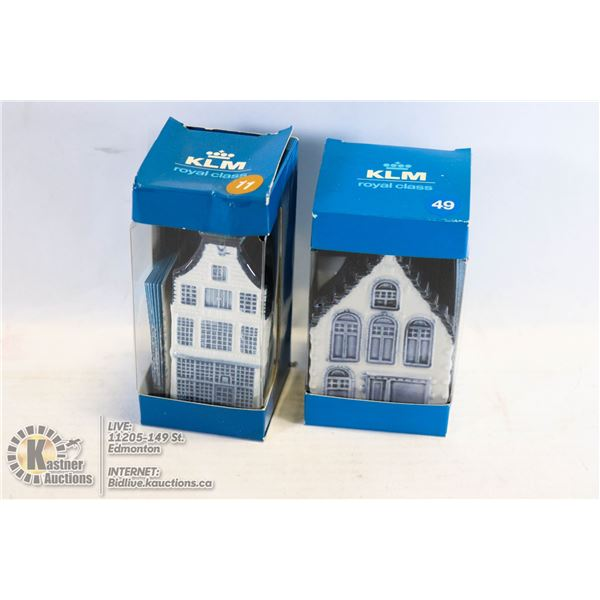 KLM (2) DELFT BOLS MINATURE ROYAL CLASS HOUSES #11 & #49 IN ORIGINAL BOXES