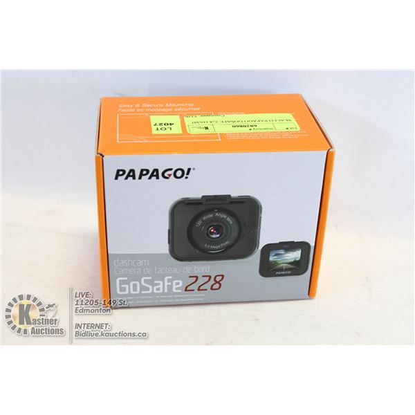 "SEALED PAPAGO GOSAFE 228 DASH CAMERA 1080P WITH 2"" LCD SCREEN #GS2288GS"