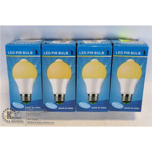 LOT OF 4 LED PIR LIGHTBULBS