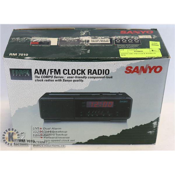 SANYO AM / FM CLOCK RADIO IN BOX