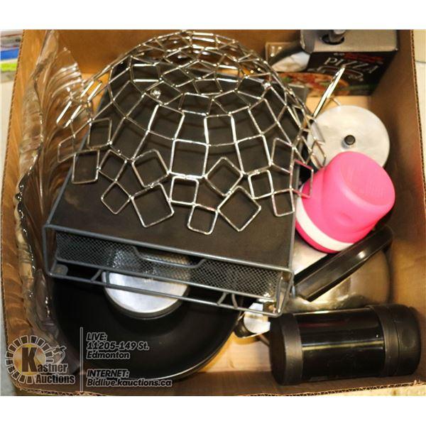 BOX FULL OF KITCHENWARE INCL. TASSIMO STORAGE DRAWER, LARGE BROWN BOWLS, DECORATIVE GLASS PLATTER, C