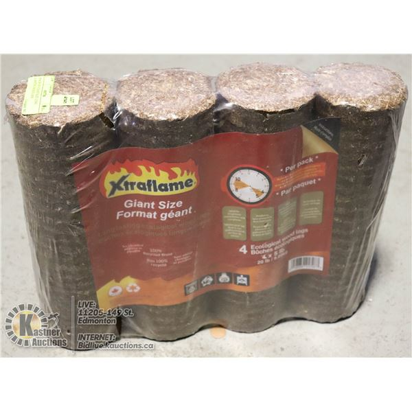 PACK OF 4 GIANT SIZE LONG LASTING WOOD LOGS