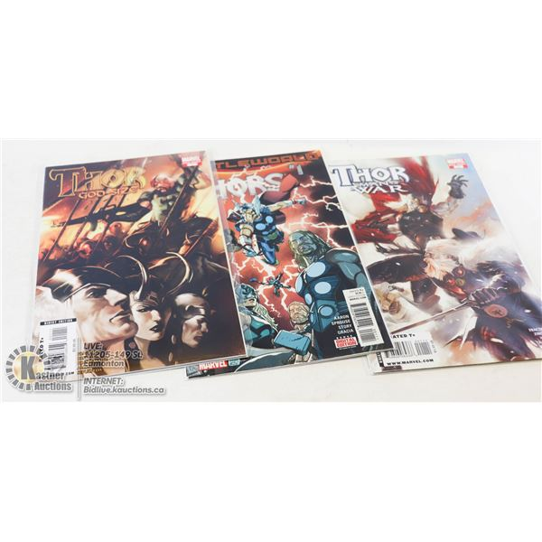 LOT OF 3 MARVEL COMICS THOR #1 ISSUES