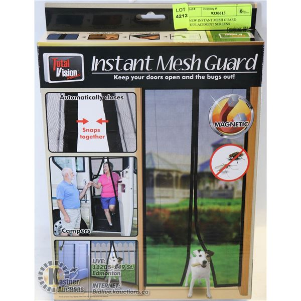 """NEW INSTANT MESH GUARD REPLACEMENT SCREENS CLOSES W/ MAGNETS 40"""" X 82.5"""""""