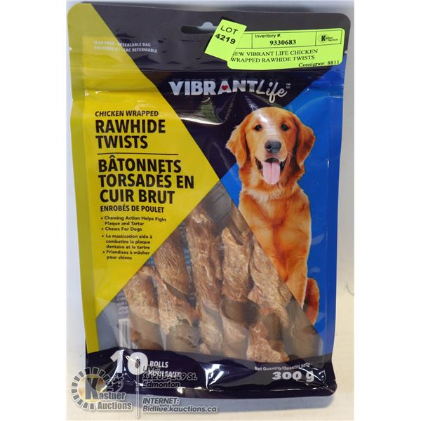 NEW VIBRANT LIFE CHICKEN WRAPPED RAWHIDE TWISTS