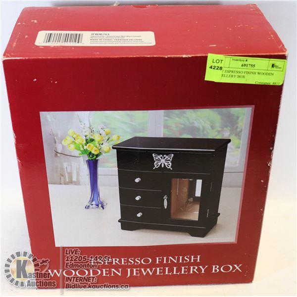 NEW ESPRESSO FINISH WOODEN JEWELLERY BOX