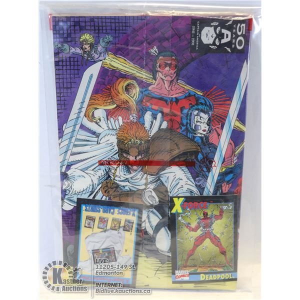 DEADPOOL ROOKIE CARD --- UNOPENED POLYBAG COMPLETE X-FORCE #1 COMIC WITH 2 COLLECTIBLES CARDS INCL R
