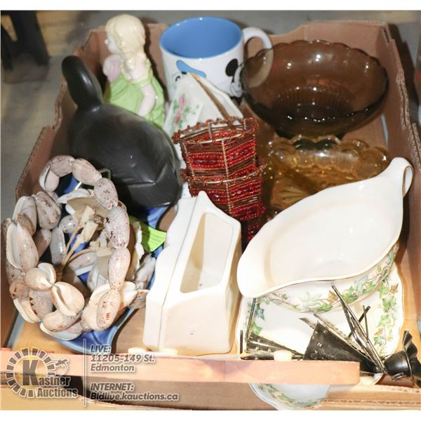 XL FLAT OF ESTATE FIGURINES AND HOME DCOR SCISSOR KEEPERS, GRAVY BOAT WITH PLATE, AND MUCH MORE