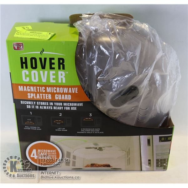 NEW HOVER COVER MAGNETIC MICROWAVE SPLATTER GUARD BUILT IN MAGNETS KEEP SPLATTER GUARD ATTACHED AND
