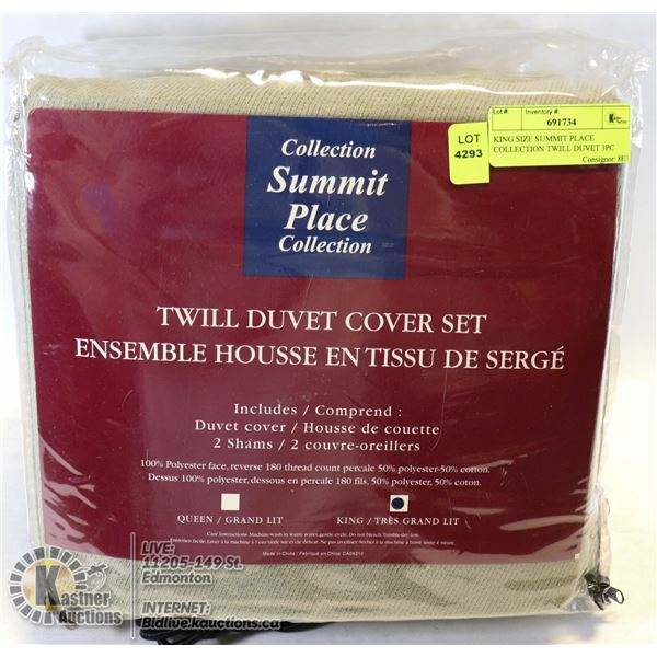 KING SIZE SUMMIT PLACE COLLECTION TWILL DUVET 3PC COVER SET