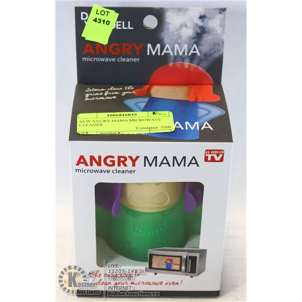 NEW ANGRY MAMA MICROWAVE CLEANER INCLUDES INSTRUCTIONS ON BACK OF PACKAGING