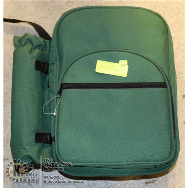 BACKPACK PICNIC CASE (SERVICE FOR 4) INSULATED PICNIC BACKPACK COMPLETE WITH SERVICE FOR 4 (PLATES,