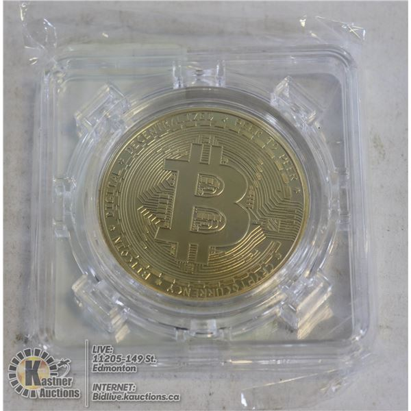 GOLD PLATED BITCOIN IN ROTATING CASE 40MM GOLD PLATED COIN. A MUST HAVE FOR CRYPTO CURRENCY ENTHUSIA